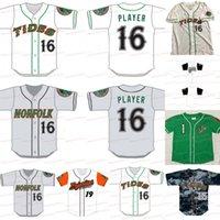Tides de Norfolk Leagas menores cosidas de béisbol de béisbol personalizado 100% bordado blanco gris camisas verdes cosidas