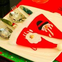 Рождественская шляпа сумка столовые приборы мешок конфеты подарочные сумки милый карманный вилкий нож конфеты держатель столовый ужин рождественские украшения вечеринки поставки DWF8919