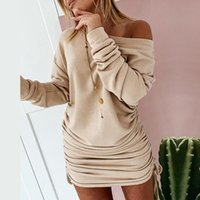 Black Drawstring Woman Off Shoulder Long Sleeve Bodycon Mini Dress For Women 2021 Autumn Winter White Casual Dresses Sexy
