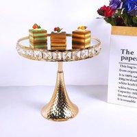 1pcs 웨딩 케이크 스탠드 스퀘어 크리스탈 생일 파티 디저트 금속 컵케익 받침대 디스플레이 플레이트 홈 장식 골드 아크릴 미러 기타 Bakewa