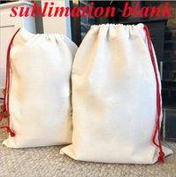 Sublimación en blanco Navidad Santa Saco de Navidad grande bolsa de regalo bolsa de regalo bolsas de caramelo con cordón reutilizable personalizados mejores regalos para el almacenamiento del paquete de Navidad