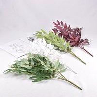 Ramo artificiale salice bouquet di seta foglie finte foglie domestiche decorazione di nozze decorazione del partito decorativo fiori corone