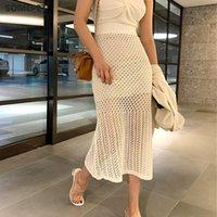 Crochet Hollow Side Split Knit Skirts Elegant Women Elastic High Waist 2021 Korean Fashion Summer Mid-length Solid