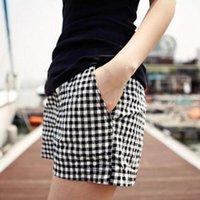 Plaid Cotton Women Shorts 2021 Summer Fashion Elastic Waist Casual Womens Clothing Plus Size Short Pants Wholesale Women's
