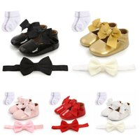First Walkers 3Pcs Autumn Baby Girls Lovely Soft Crib Shoes Sweet Bowknot Toddler + 1 Headband Socks Walking 0-18M