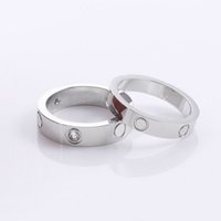 4MM and 6MM hot fashion 316L Stainless Steel Jewelry Love rings for woman man lover rings gift 18K Gold-color rose gold plated not come with box