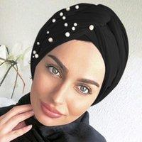 Tonos de terciopelo para mujer Pearls Turban Femme Musulman Head's Head Scarf Cap Winter Hat Turbante Mujer Etnicidad Ropa étnica
