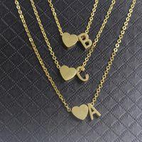 الذهب القلب حرف a b c d d e f g h i j k l m n o p q r s t u v o x y z charm قلادة للنساء bff هدية عيد كولير فام قلادة neckl