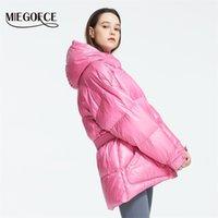 Miegofce зимняя женская куртка высокого качества яркие цвета изолированные пухлые пальто воротника с капюшоном парку свободно разрезаны с поясом 211027