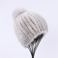Beanie Skull Caps 2021 100% Real Hat Women Winter Knitted Beanie Russian Girls Cap With Pom Poms Thick Female Elastic