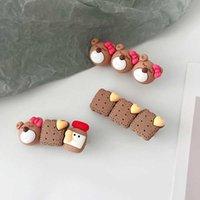 Корейский медведь печенье для волос печенья головной убор милый головной убор девушка сладкий боковой клип мультфильм аксессуары для волос