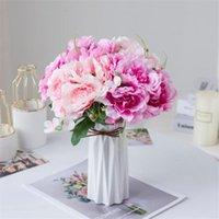 """Декоративные цветы венки один поддельный короткий пион (5 стр / гроздь) 11 """"длина симуляции весенний Peonia полная открытая для свадьбы дома искусственный"""