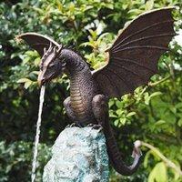 Figurine Miniatures Home Decore 2021 Dragon Water Spray Dinosaur Resina Ornaments Decorazioni giardino