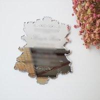 Grußkarten Musterbestellung für 5 * 7 Zoll Vintage Blattform Silber Spiegel Acryl Hochzeitseinladungskarte