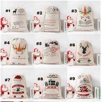 هدية السنة الجديدة سانتا أكياس شخصية كبيرة سانتا كلوز حقيبة مخصصة عيد الميلاد قماش هدية أكياس الرباط القطن سانت
