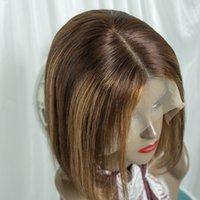 Xbl 브라질 스트레이트 하이라이트 Bob 가발 13x4 레이스 폐쇄 인간의 머리 가발 4/27 Ombre 갈색 자연 색상