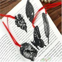 Marcador 20 pcs bonito PVC preto belo recorte de metal retro bookmarks estudante escola papelaria para presentes