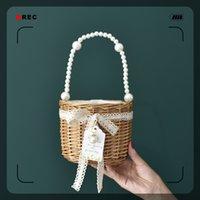 Summer Korean version Red Pearl rattan willow portable pearl versatile grass woven bag fashionW9DN