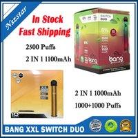 새로운 Bang XXL PRO 최대 스위치 일회용 장치 키트 VAPE 2 in 1 6ml 포드 2000 퍼프 1100mAh 배터리 Xxtra 더블 펜 퍼프 플렉스 이즈 슈퍼