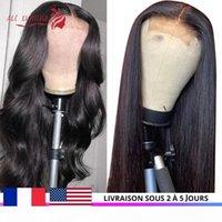 Menschliche Haare Perücken Verschluss Perücke Prepucked Mongolian Gerades Haar mit Baby Spitze Perücke 30 Zoll Körperwelle Fast in USA