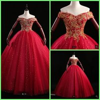 2021 real photo red tulle vintage ball gown prom dresses off the shoulder v neckline sequined appliques princess party gowns sweet 16 modest quinceanera dress