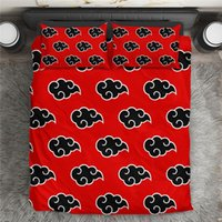 Bedding Sets Black And Red Akatsuki Duvet Cover 2021 Fashion Japan Anime Bed Sheet With 2pcs Pillowcase For Teen Boys