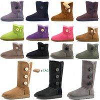 2021 Mulheres Mulheres Austrália Botas australian Botas de Inverno Neve Peludo Bota de Cetim Botas de Azulejo Couro de pele de pele ao ar livre Sapatos # 25hj 91wl #