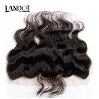 Закрытие кузова волна 13x4 Размер свободных средних 3 Часть полное кружевное фронтальные бразильские девственные человеческие волосы натуральные черные