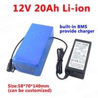 Gtk battery 12v 20ah 20000mah dc batteries portable li-ion lithium cells pack for backup power 12 cctv camera + 3A Charger