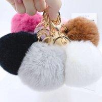 8cm Imitate Fur Ball Keychain Pom Car Handbag Keychains Party Favor Decoration Fluffy Faux RabbitFur Key Ring Bag Accessories WLL849