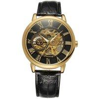 التحمل 3d شعار تصميم جوفاء النقش الأسود الذهب حالة جلدية الهيكل العظمي الساعات الميكانيكية الرجال هيرن هورلوج المعصم