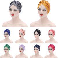 Muslim Women Hijab Sequins Turban Arab Indian Hat Bonnet Headscarf Hair Loss Solid African Hat Auto Gele Headtie Head Wrap Cap