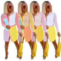 Summer Womens Shirt Dresses Long Sleeve Patchwork Polo Neck Cardigan Mini Casual Dress Fashion Sexy Women Clothes