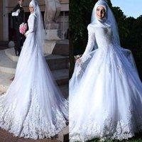 Long sleeve muslim hijab wedding dress lace up back lace applique islamic Dubai wedding dresses vestidos de novia