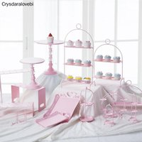 Other Bakeware Pink Sweet Dessert Table Supplier Baker Showcase Cake Stand Wedding Props Decoration Tools Hollow Lace Tray Candy Bar