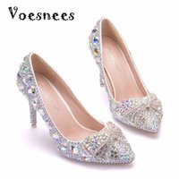 Kristal Gelin Düğün Ayakkabı Kelebek Rhinestone Yüksek Topuk 10 cm Kadınlar Balo Lüks Külkedisi Parti Ayakkabı Elbise Pompalar