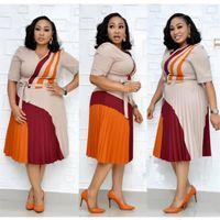HGTE 사무실 OL 비즈니스 아프리카 여성 드레스 V 넥 하프 슬리브 A 라인 드레스 Plissee Midi Kleid Vestidos 210331