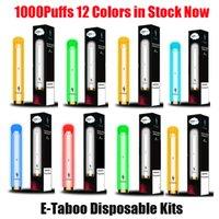 정통 E-Taboo 일회용 전자 담배 포드 장치 키트 1000 퍼프 600mAh 배터리 3.5ml 프리 쿼리 포드 카트리지 RGB 조명 플래시 스틱 vape 펜 100 % 정품