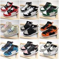 Baby Womens كرة السلة الأحذية الدنيم الأسود القط النار الأحمر bred oreo jumpman 1 أحذية رياضية للشباب الأطفال حجم 26-35