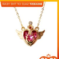 12 unids / lote accesorios de joyería de moda Rhinestone Sailor Moon Card Captor Pink Heart Necklace J1218
