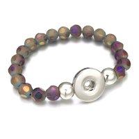 286 Bracelet interchangeable Couleurs de bonbons Couleurs extensibles Stretch en verre acrylique Berfo Fit Fit Boîte à pression de 18mm Bijoux pour femmes