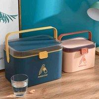 WBBooming Ev Bakımı Tıp Dolabı Plastik Dikdörtgen Kutu Taşınabilir ve Moda Renk Saklama Kutuları Bineler 210331