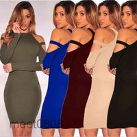 2021 Casual Dresses Clothes Women Solid Fashion Long Sleeve Strapless O-Neck Hip Sexy Sheath Dress meet0808