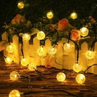 Solar String Lights Outdoor Crystal Globe Decorative Light Strings with 8 Modes, Waterproof Solar Powered Patio String Lights for Garden Tree Gazebo Patio Backyard
