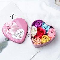 Moda Buket Hediye Kutusu Renk Sabun Çiçek 6 Güller Kalp Şeklinde Kalay Paketleri Şirket Olay Hediyeler
