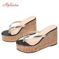 Aphixta 9cm Wedge Heels Flip Flops Women Slides Beach Platform Slippers Female Sandals Clog Shoes Plus Big Size 42 43