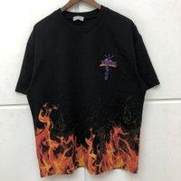 Travis Scott Broderie Cactus Jack T-shirt Hommes Femmes Motif Flame Top T-shirts Harajuku Vêtements X0708