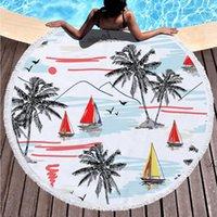 Serviettes de plage Tropical Imprimé grand camping en plein air Pique-nique Microfibre Tissu Tissu Tissu pour salon Maison Décorative Dwe5730