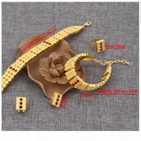 Nueva llegada Jewelry Etiopian 24k Real Gold GF Cuello Cuello Cuello Collar Pulsera Pendiente Anillo Conjuntos Eritrea Habesha África Mujeres Pesado Grueso