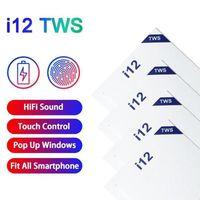 Auricolari wireless TWS I12 Bluetooth In-Ear Stereo Sound Sound Auricolari Pop-Up Window con microfono Scatola di ricarica Mini Cuffie